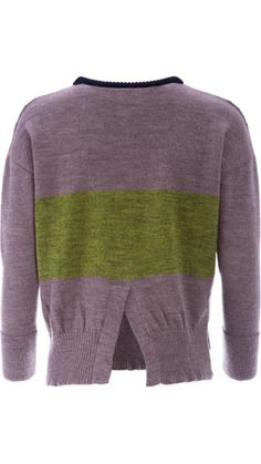 """</p> <p class=""""p1"""">Cable-knit jumper in mauve and green with round neckline in navy blue ribbed-knit.</p> <p class=""""p1"""">Horizontal knitted stripe in green.</p> <p class=""""p1"""">Center back vent.</p> <p class=""""p1"""">Small side vents and longer back.</p> <p class=""""p1"""">Ribbed-knit hemline and cuffs.</p> <p class=""""p1&qu..."""