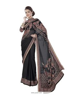 Elegant Georgette Black Trendy Saree Model: YOSAR8382