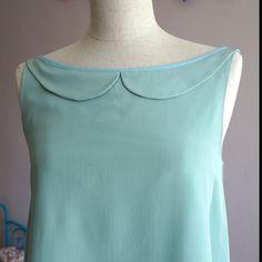 Robe col claudine vert d'eau soie : Robe par amandinegrimm