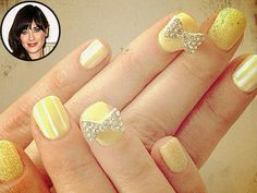 """""""Lemon yellow nail art for the Thx 2 Bar"""" --Zooey Deschanel, whose yellow nails looked anything but mellow at the Critics' Choice Awards in 2012 Nail Art Designs, Nail Designs Pictures, Nail Polish Designs, Zooey Deschanel, Hot Nails, Hair And Nails, Celebrity Nails, Celebrity Jewelry, Mode Blog"""