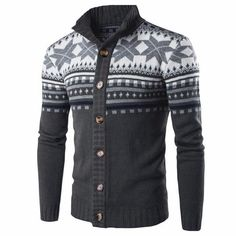 Mens Knit Cardigan Casual Slim Fit Knitted Sweater Retro Jacquard Button Down Knitting Cardigans Male Sweaters, Casual Sweaters, Sweater Coats, Sweater Jacket, Long Sleeve Sweater, Men Sweater, Men's Cardigans, Cardigan Sweaters, Cheap Sweaters