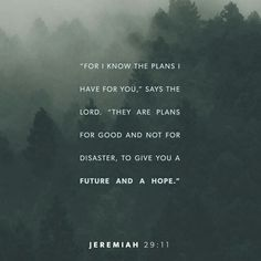 For I know the thoughts and plans that I have for you, says the Lord, thoughts and plans for welfare and peace and not for evil, to give you hope in your final outcome. Jeremiah 29:11 AMPC http://bible.com/8/jer.29.11.AMPC