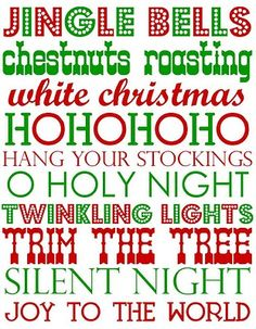 Printable Christmas words and phrases