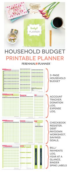 Get that household budget in order by putting it all down on paper! Printable Budget Planner from Perennial Planner.