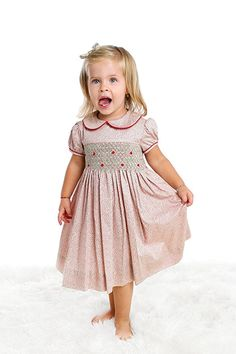 Toddler Girls's Hand Smocked Holiday Dress - Floral Print, 4T