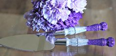 Glitter Cake & Knife Server Sparkling Serving by ExclusivelyUrs, $30.00  This in Plum and Teal.
