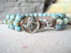 Luxe boho woven leather bracelet bohemian turquoise picasso rustic antique flower pearl fun jewelry by A Lady's Bliss