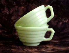 Set of 2 Green Cups Hazel Atlas Modern by PastAroundAgain on Etsy