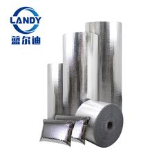 Landy aluminum foil bubble insulation: Heat reflective roof material This kind of heat reflective roof insulation foil material consists of aluminum film bonded to single/double layers of bubbles.The shiny surface alu insulation have a high reflective component,can blocks most of the radiation heat. This bubble insulation shield can be used for bubble foil loft insulation,room insulation and mobile home insulation.
