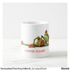 Personalized Tree Frog Coffee Mug Cup Drink Gift Stainless Steel Coffee Mugs, Personalized Coffee Mugs, Tree Frogs, Funny Coffee Mugs, Coffee Travel, Mug Cup, Photo Mugs, Create Your Own, Make It Yourself