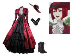 """""""Black Butler Madam Red"""" by phoenix1053 ❤ liked on Polyvore featuring women's clothing, women, female, woman, misses and juniors"""