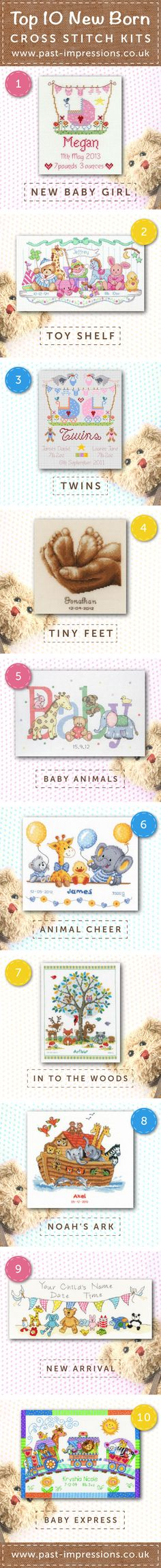 10 of the best newborn/birthing samplers cross stitch kits. Perfect for newborns and adding to nurseries. Shop them all on Past impressions.