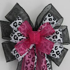 Hot Pink Sparkle Leopard Print Black Mesh Wire Edge Party Wedding Bachelorette Sweet 16 Quinceanera Bows on Etsy, $11.13 CAD