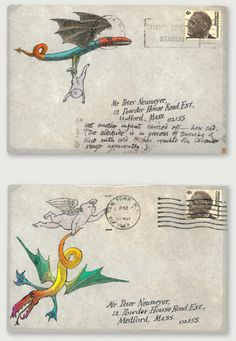 Edward Gorey Illustrated Envelopes - Important Vintage Letters - Found Illustrations | Small for BIg
