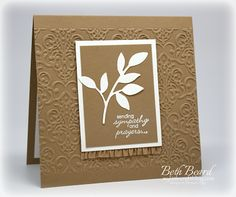Stampin' Up! ... handmade sympathy card from My little craft blog: sending sympathy and prayers ... monochromatic brown ... clean and simple layout ... like how the embossing fold texture runs horizontally and has smoothe areas at top and bottom ...