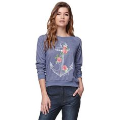 The women's Billabong Rosy Anchor Crew Fleece has a super cute anchor rose graphic on front and a classic crew neckline. The fleece is a pullover style with lo…