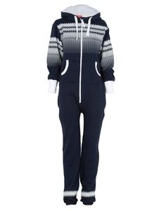 Navy Blue Onesie All in One Jump Suit w Hoodie  #Chiarafashion