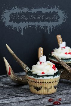 "These Walking Dead inspired cupcakes include a ghastly pale almond base infused with a vein of red, American [horror] buttercream, sinister black sprinkles (yes, this may be only time you see ""sinister"" and ""sprinkles"" in the same sentence), bloody decorating gel, and candy knives and ""toxic"" signs stabbed straight through the top."