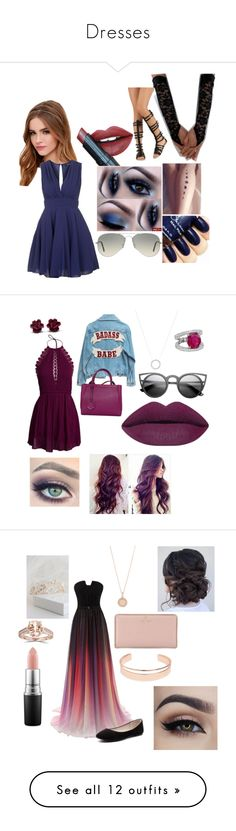 """""""Dresses"""" by aleenaaaaaaa on Polyvore featuring Lulu*s, TFNC, Ray-Ban, Fiebiger, women's clothing, women, female, woman, misses and juniors"""