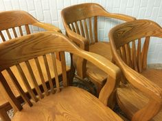 Set Of 4 Vintage Boling Bankers Chairs/ Boling Chair Company/ 4 Library  Chairs/ Set A