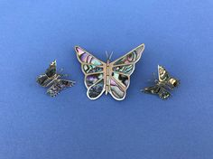 1970's Vintage Butterfly  Mother Of Pearl Large Mexican