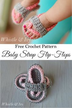 Free Crochet Pattern - Get the pattern for these sweet baby flip flops, adorable for any occasion. {Pattern by Whistle and Ivy}