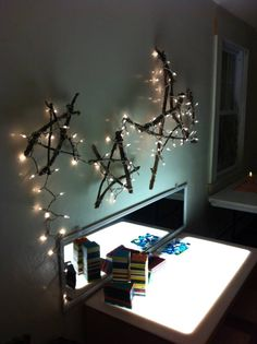 Moving the light box to the loft for Spring with twinkle lights would be so much fun!