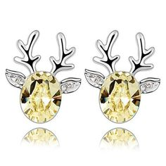 Silver Swarovski Parts Crystal Diamond Accent Christmas Deer Earrings Studs S.... *** Check out even more by going to the photo link Read more at  http://friendlyfaces.selenashops.com/silver-swarovski-elements-crystal-diamond-accent-christmas-deer-earrings-studs-set-for-women-teenage-girls-with-a-gift-box-ideal-gift-for-birthdays-christmas-wedding-yellow-model-x13748/