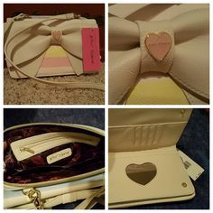 50 % off Betsey Johnson Bag Betsey Johnson Cream colored cross body bag with Pastel pink, yellow, green and blue stripes. Zipper closure with small zipper pouch inside. Snap closure front with heart shaped mirror and credit card slots. Betsey Johnson Bags Crossbody Bags
