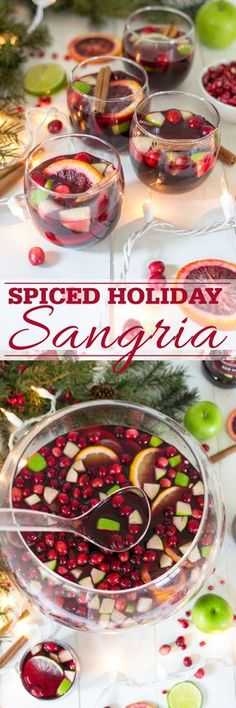 A spiced holiday sangria recipe made with brandy, winter citrus, cranberries, dry red wine and Master of Mixes sangria mix. So easy and delicious for holiday entertaining! #ad
