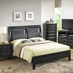 Glory Furniture Gemini Upholstered Panel Bed Size: King, Finish: Cappaccino