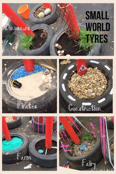 Small world tyres – natural playground ideas Outdoor Learning Spaces, Outdoor Play Areas, Eyfs Outdoor Area Ideas, Outdoor Spaces, Natural Playground, Outdoor Playground, Playground Ideas, Outdoor School, Outdoor Classroom