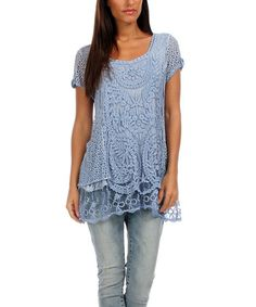 CrazyRomantic.com loves this! Another great find on #zulily! Faded Blue Butterfly Crochet Top #zulilyfinds