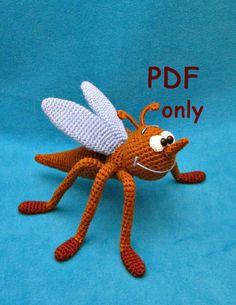 Mosquito crochet toy amigurumi PDF pattern by jasminetoys on Etsy