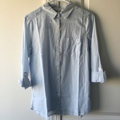 Classic Pinstripe Oxford Closet staple. NWT. Size small 3/4th sleeve roll tab top. Light blue and white pinstripes. Tops Button Down Shirts