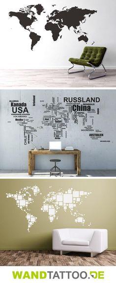 Weltkarten, Deutschlandkarten und Landkarten anderer Länder in verschiedenen Designs entdecken. Weltkarten-Wandtattoos haften an Wänden und anderen glatten Flächen.