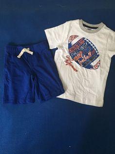 NWT Gymboree 4T Boy's Two Piece Football Shorts Outfit Set  #Gymboree