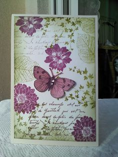 .butterfly card with green and purple ink- wow this is amazing, love the colours, stamps everything!