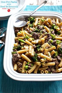 One Pot Pasta with Beef & Broccoli. A simple recipe for family dinner & leftovers perfect for lunch boxes too! MarlaMeridith.com ( @marlameridith )