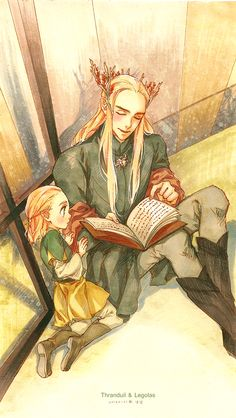 I love the fact that so much fan art shows Thranduil reading to or with Legolas - so who's the bad parent?