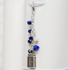 Police Box Traveler's Notebook Charm with Blue and White Crystals Police Box, Blue Crystals, Travelers Notebook, Keychains, Jewelry Ideas, Jewerly, Jewelry Making, Blue And White, Charmed
