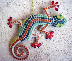 Mosaic gecko wall art by Artha's Mosaics