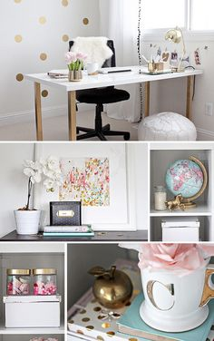 Gold Pink Home Office by justbellablog, via Flickr