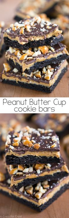 Peanut Butter Cup Cookie Bars are a peanut butter cup turned into a easy cookie bar recipe! These bars have three layers: a chocolate cookie bar with peanut butter filling and chocolate coating. Peanut Butter Cups, Peanut Butter Desserts, Fun Desserts, Delicious Desserts, Dessert Recipes, Bar Recipes, Recipies, Paleo Dessert, Cream Recipes