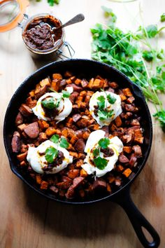 Feasting at Home: HARISSA SWEET POTATO HASH w/ Merguez Sausage and Eggs