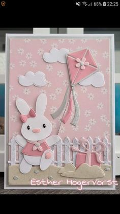 Marianne Design Cards, Cute Cards, Cards Diy, Bird Cards, General Crafts, Baby Bunnies, Baby Crafts, Paper Cards, Pet Birds