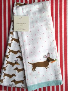 NWT CYNTHIA ROWLEY DACHSHUND DOGS EASTER KITCHEN DISH TOWELS 2 PC SET NEW #CynthiaRowley