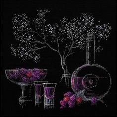 "Still Life With Liquor Counted Cross Stitch Kit-11.75""X11.75"" 14 Count (11.75""X11.75"" 14 Count), Grey metallic"