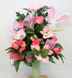Easter Bunny Cemetery Vase Flower Arrangement by Crazyboutdeco