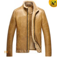Men's Classics Sheepskin Jackets Tan CW858347 Winterized classics sheepskin jacket in imported supple sheepskin with supple plush fur shearling material, makes this winter coat a fashion statement, designer tan sheepskin winter jacket featuring with shearling stand collar, zipper closure.  www.cwmalls.com PayPal Available (Price: $1557.89) Email:sales@cwmalls.com